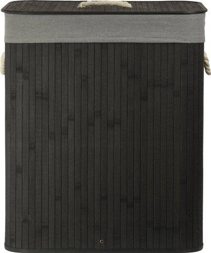 Korb aus Bambus schwarz J702 + Stoffbezug